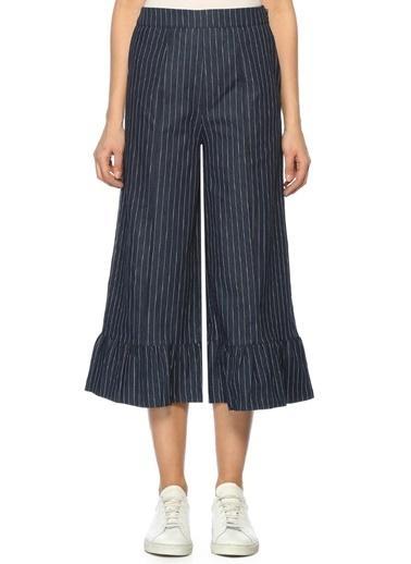 Yüksek Bel Bol Paça Çizgili Pantolon-English Factory